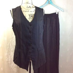 Vintage Black Tan Pinstripe Vest Trouser SET L/S
